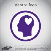 Человек и его ум о символ сердца — Cтоковый вектор