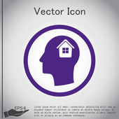 Man and his mind about House icon — Stock Vector