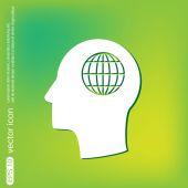 Head with globe icon — Stock Vector