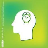 Head with alarm clock icon — Stock Vector