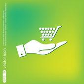 рука торговых тележка интернет-магазин — Cтоковый вектор