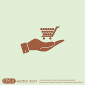 Hand holding a shopping cart — Stock Vector