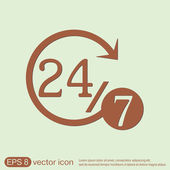 Character 24 7 icon — Stock Vector