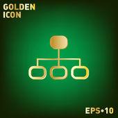 Server network golden icon — Stock Vector