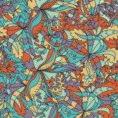 Motif floral abstrait vague dessinés à la main — Vecteur