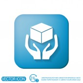 Hands holding box logistic icon — Stock Vector