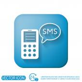 Smartphone with cloud of sms dialogue — Stock Vector