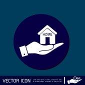 Hand halten ein Haussymbol — Stockvektor