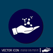 Hand holding the atom, molecule — Stock Vector