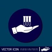 Hand holding a bulb or beaker — Stock Vector