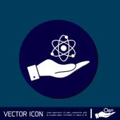 Hand holding the atom — Stock Vector