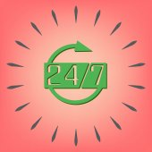 Otwarty 24 godziny i 7 dni ikona — Wektor stockowy