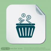 Shopping cart with money icon — Stock Vector