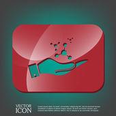 Mano que sostiene el átomo, la molécula. — Vector de stock