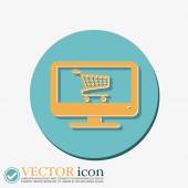 Monitor with symbol shopping cart — Stock Vector