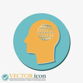 Man and his mind about  globe symbol — Stock Vector