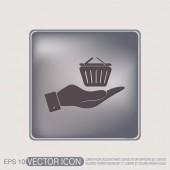 Hand holding a shopping cart — Stock Vector