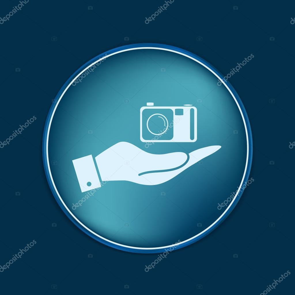 手中拿着相机拍照,矢量图– 图库插图