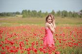 Beautiful Girl in the poppy field, red dress — Foto de Stock