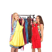 Friends give pieces of advice to each other concerning the clothes — Stock Photo