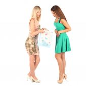 Shopping and tourism concept - beautiful girls with bags — Photo