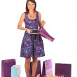 Excited shopping woman looking into bag and get present, isolated — Stock Photo #55949249