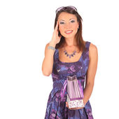 Young pretty woman standing with color-full shopping bags — Stock Photo