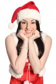 Sexy girl wearing santa claus clothes, christmas — Stock Photo