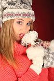 Portrait of beautiful sexy girl celebrating christmas party — Stockfoto