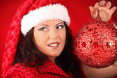Christmas portrait of beautiful plus size young woman — Stock Photo