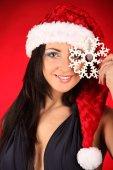 サンタ クロース衣装を着て美しくセクシーな女性 — ストック写真