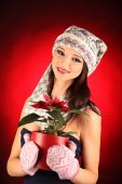 Kerstmis meisje met rode bloem in haar hand — Stockfoto