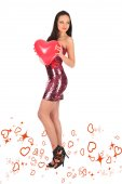 Valentines beautyfull girl with balloon heart in her hands — Stock Photo
