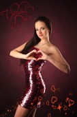 Valentines beautyfull girl with smile and hearth — Stock Photo