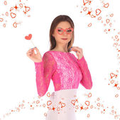 Valentines beauty girl with heart in her hands — Stock Photo