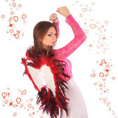 Valentines beauty girl with winds — Stock Photo