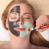 Young beautiful woman receiving facial massage and spa treatment — Stock fotografie