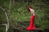 赤いドレスと黒い少女の芸術ファッションの肖像画 — ストック写真