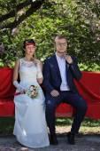 Genç erkek ve kadın retro düğün portre — Stok fotoğraf