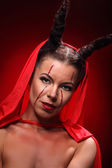 Portrait of a devil with horns. Fantasy. Art project. halloween — Stock Photo