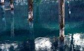 Water with pillars — Stock Photo