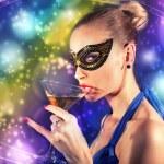 Beautiful blonde woman drinking champagne. — Stock Photo #61739923