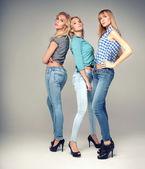 Fashion photo of three blonde woman. — Stock Photo