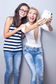 Two sisters using camera. — Stock Photo