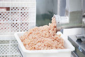Pork minced meat comes from a mincer — Stock Photo
