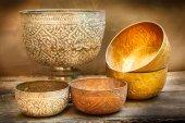 Antique silver bowl, vintage. — Stock Photo