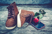 Brown shoe on old wood background. — Stock Photo