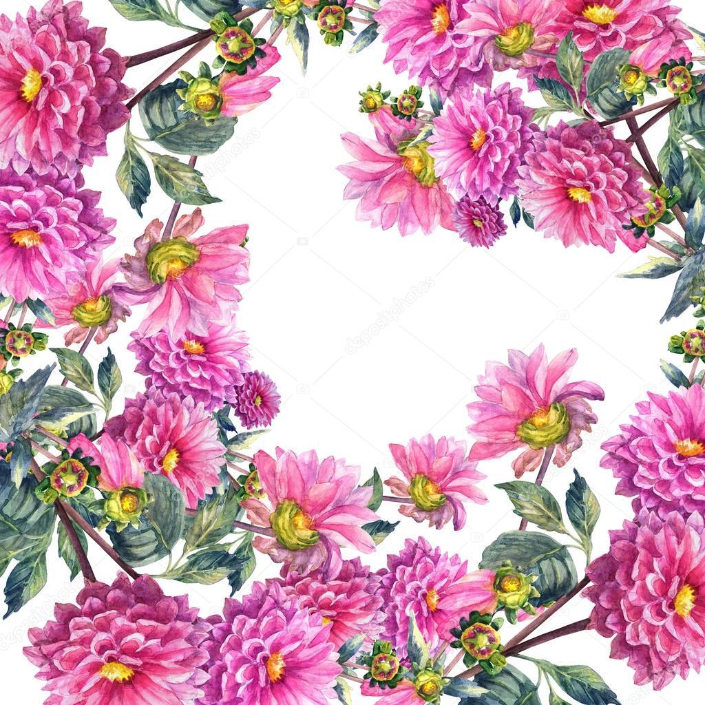 花环模板水彩手绘插图