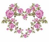 Floral heart shaped frame — Stock Photo