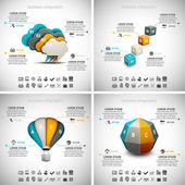4 in 1 Business Infographics — Stock Vector